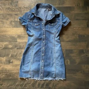 725 Vintage denim button up stretchy mini dress